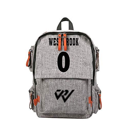 NBA Fan-Rucksack-Russell Westbrook wasserdichte Segeltuch-große Kapazitäts-Rucksack, Schüler Schulranzen, Jungen und Mädchen verwendet Werden (14 Zoll) (Color : B)