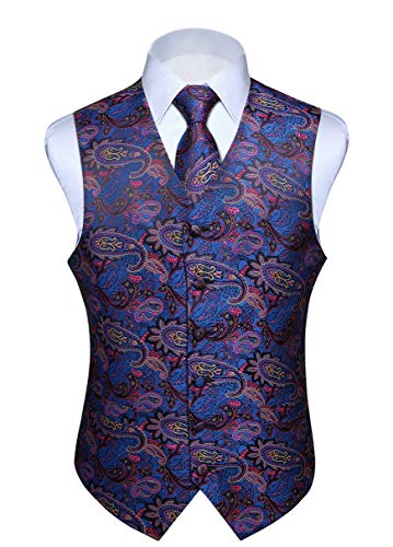 Hisdern Manner Paisley Floral Jacquard Weste & Krawatte und Einstecktuch Weste Anzug Set, Blau Rosa, Gr.-L (Brust 46 Zoll)