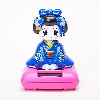 THY COLLECTIBLES Solar Powered Bobblehead Toy Figure Nohohon, Japanese Kimono Maiko Geisha - Blue