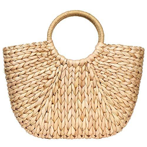 Bolsa de mimbre de verano para las mujeres de paja tejida a mano con asa superior de playa de mar paja de ratán bolsas de embrague, rosado caqui , Talla única,