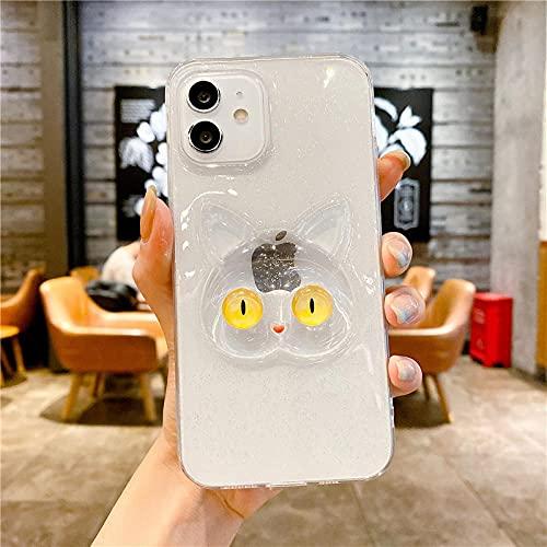Brillo Transparente 3D para iPhone Funda Protectora Funda Trasera de Gato para iPhone 12 11 Pro MAX XS MAX XR X SE 2 8 7 Plus para iPhone 12 Mini 5