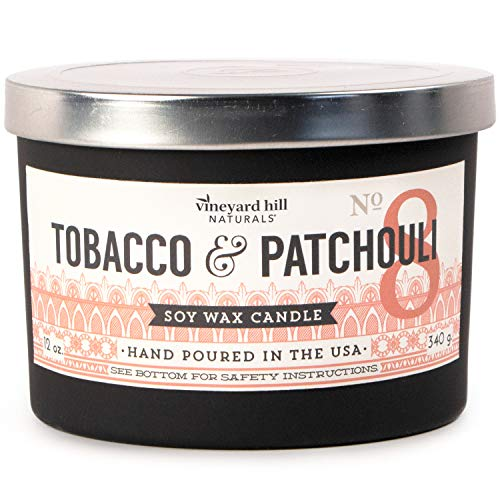 Vineyard Hill Naturals Matte Black Letterpress 3-Wick Scented Candle, 12-Ounce, Tobacco & Patchouli
