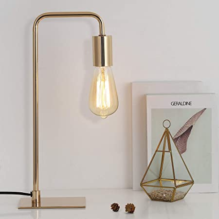 Gold Desk Lamp - Edison Table Lamps- Industrial Bedside Lamp for Bedroom, Living Room, Dorm - Small Metal Lamp for Reading, Nightstand, Dressers