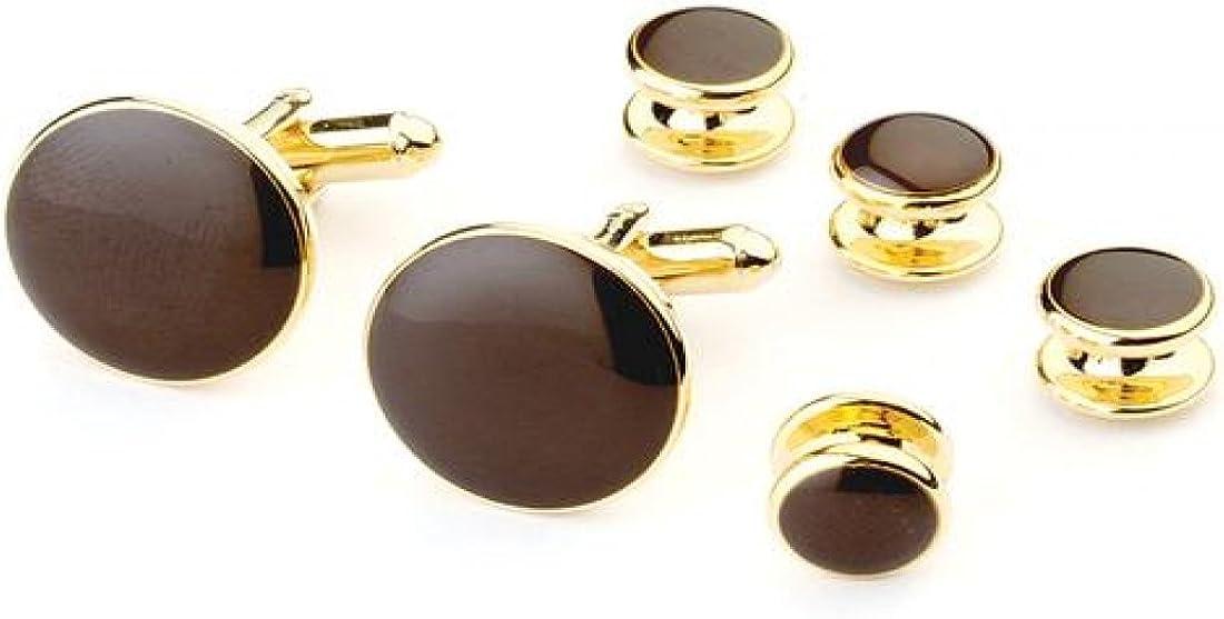Chocolate Tuxedo Studs and Cufflinks Gold Trim
