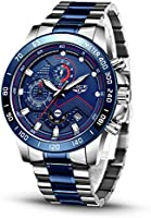 LIGE Mens Watches Business Fashion Multifunction Chronograph Wrist Watch Waterproof Stainless Steel Analogue Quartz Large...