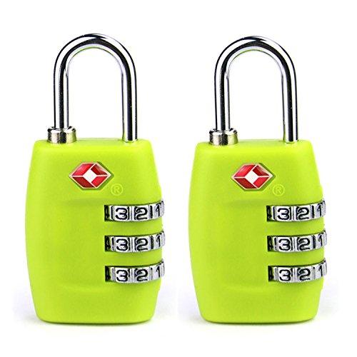 HMILYDYK Paquete de 2 cerraduras de equipaje de viaje aprobadas por la TSA con 3 diales, combinación de código de seguridad candado para maletas, bolsas, taquillas de gimnasio