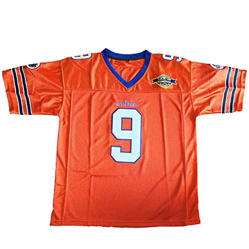 Bobby Boucher #9 The Waterboy Adam Sandler Movie Mud Dogs Bourbon Bowl Football Jersey (Orange, Small)
