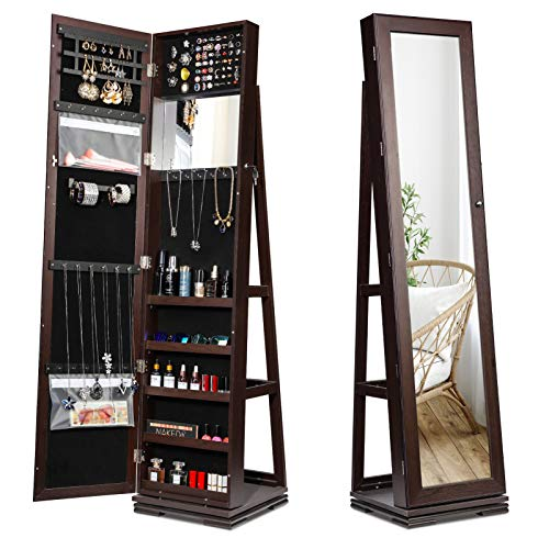 TWING Jewelry Organizer Jewelry Cabinet 360 Rotating Lockable Standing Wall Jewelry Armoire with Full Length Mirror Large Jewelry Armoire CabinetBrown