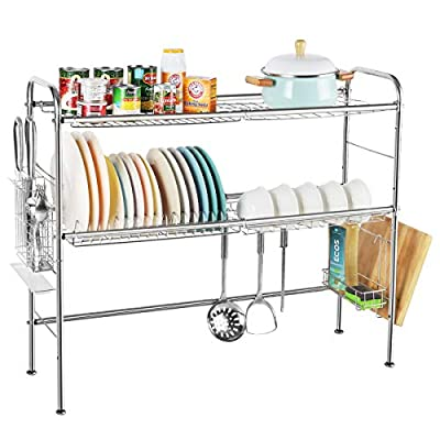 NEX 2-Tier Drying Rack for Kitchen ,Over Sink Dish Drying Rack Stainless Steel Non-slip Stable Dish Dryer ,Length Adjustable, Silver (Sink Size ? 33 INCH) by NEX