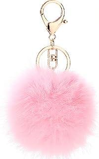 be66c36a2dcb ETENOVA Pom Pom Keychain Genuine Rabbit Fur Ball Keychain Fluffy  Accessories Car Bag Charm