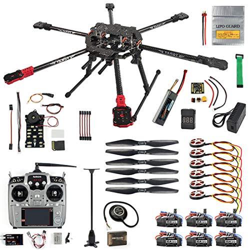QWinOut ARF/PNP Full Set Hexacopter DIY Drone Kit Tarot 690mm Frame with 750KV Motor GPS PIX 2.4.8 32 Bit Flight Controller (ARF)