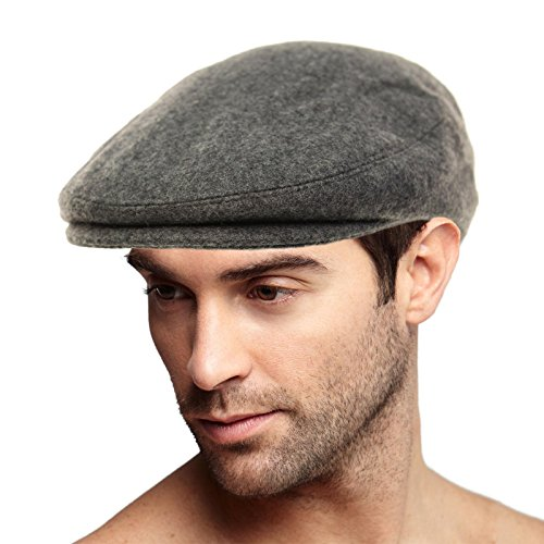 Men's Winter 100% Soft Wool Solid Flat Ivy Driver Golf Cabby Cap Hat X-Large Charcoal
