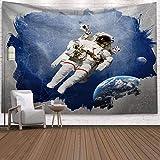 Universe Spaceman Tapestry Fantasy Astronaut Galaxy Planet Decoración para Colgar en la Pared para la Sala de Estar del Dormitorio (200x150cm)
