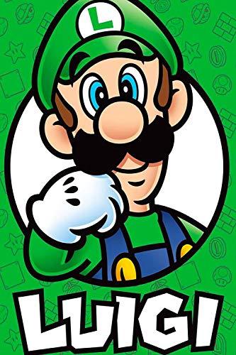 Coobals Luigi Super Mario Bro Decoración de baño Arte de pared de 61 cm x 91 cm Super Mario Bros Arte de pared Giclée Texturizado Arte, sin enmarcar/enmarcar