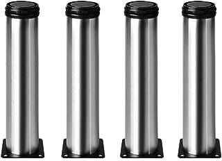 4 unidades Patas de Metal muebles regulables armario de cocina pies redondo - Metal cromado - Altura ajustable (Total: 265mm)