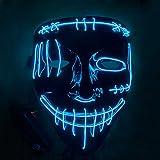 etasche LED Halloween Masque Lumière Masques La Purge élection en Lumière LED Masque pour Halloween Masque de Squelette pour Enfants - Fête du Festival de Costume Cosplay Adulte (Bleu)