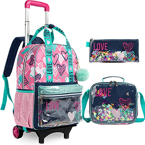 Trolley per bambini Zaino per scuola bambini Zaino per scuola ragazze Zaino con design olografico, Set di cartelle con ruote 3 IN 1 Zaino per bambini perfetto per ragazze adolescenti, 35×18×43CM