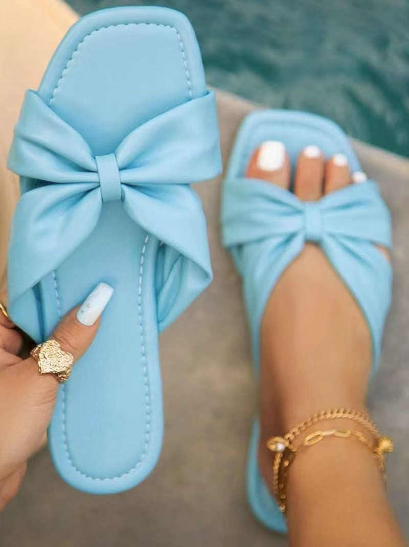 DTTBlue Summer Women Elegant Outdoor Slides Bow-tied Cross Knot Quality Leather Flat Heel Open Toe Fashion Modern Slippers Ladies Shoes - White - 10