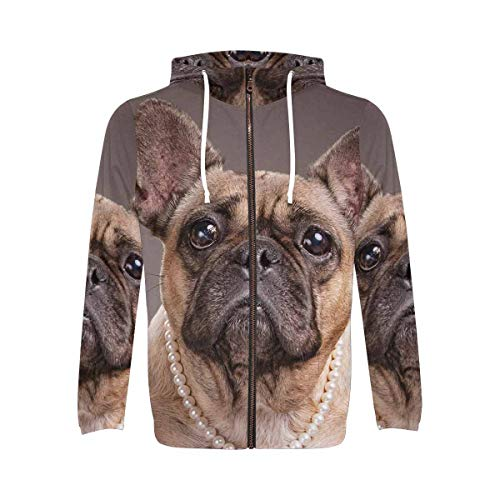 InterestPrint Men's Zipper Hoodie Made from Polyester with Pocket French Bulldogs XL