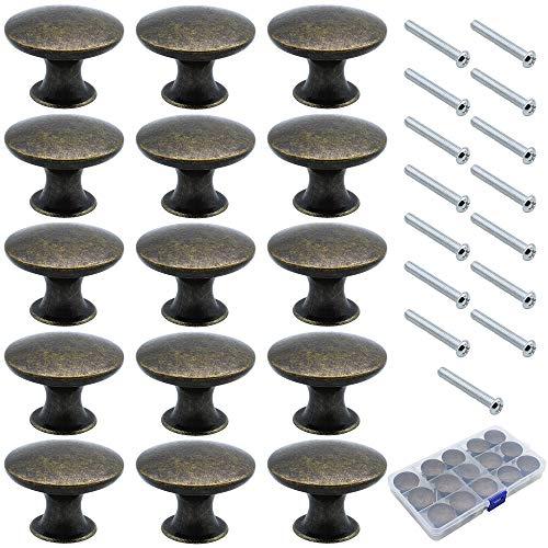NewZC 15 Piezas Pomos de Muebles 30mm Vintage Bronce Tiradore de Cajones Pomos Redondos para Puertas/Armarios de Cocina/Cajones - de Aleación de Cinc