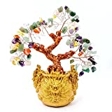 Crystal Fortune Tree, Gold Money Tree Feng Shui Ornament for Bringing Wealth, Luck, Prosperity, Success, Crystal Money Tree Feng Shui Bonsai Decoration for Home, Office (7 Colour)