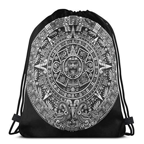 Hdadwy Aztec Calendar Sun Stone - Greyscale Sport Bag Gym Sack Drawstring Backpack for Gym Shopping