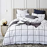 Cottonight Check Comforter Set Black and White Bedding Comforter Set Full White Grid Cotton Comforter Queen Plaid Buffalo Soft Bedding Set with 2 Pillowcase for Women Men Adults Teens