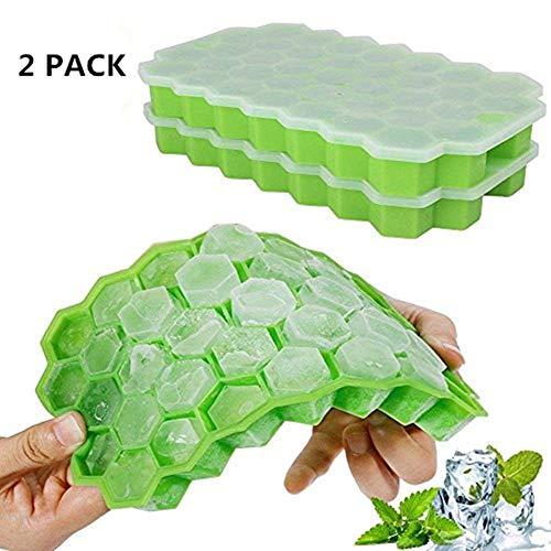 Nifogo Eiswürfelform Silikon mit Deckel, Eiswürfelbehälter, 2 Stücke Ice Cube Tray, Eiswürfelbereiter BPA Frei, 37-Fach Eiswürfel, LFGB Zertifiziert(grün)