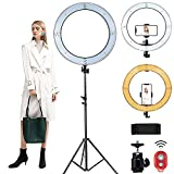 MOUNTDOG 18'' Ring Light with 79'' Light Stand, Bluetooth Dimmable LED Ring Light with 360° Rotatable Phone Holder, Carrying Bag for YouTube, Lighting Portrait, Video Shooting, Make Up
