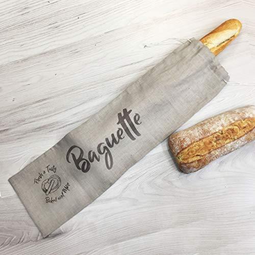 Sac à baguette fait main en lin - 63 x 13 cm - Cadeau artisanal - Rangement du pain fait main - Sac...