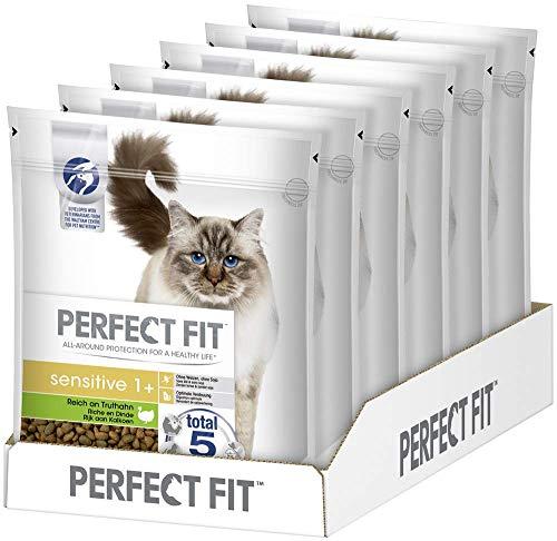 Perfect Fit Sensitive 1+ – Trockenfutter für erwachsene, sensible Katzen ab 1 Jahr – Reich an Truthahn – Ohne Weizen und Soja – Unterstützt die Verdauung – 6 x 750 g