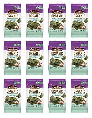 Annie Chun's Organic Seaweed, Sea Salt, 0.35-oz (12 Count), Keto, Vegan, & Gluten-Free, America's # 1 Selling Seaweed Snacks