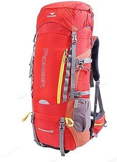 60L Outdoor Mountaineering Bag Shoulder Men and Women Travel Backpack Hiking Camping Travel Bag Shoulder Bag JKMQA (Color : Red)