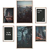 Bold Design Poster Set, New York Deko Nacht 4x A4 & 2x A3.