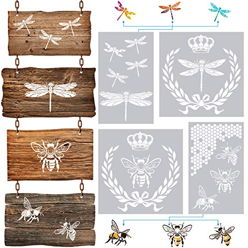 4 Pieces Dragonfly Stencil French Bee Stencil Honeycomb Stencil Reusable Stencil Vintage Chic Style Stencil for Painting, Furniture, Wood Signs, Baking, Crafts, Wall, Pillows, Stencils for Children