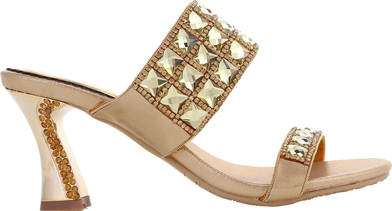 Vimedea Womens Wedding shoes Bride Bridesmaid Prom Party Rhinestone Rhinestone Mid Heel Slip on Sandals T037