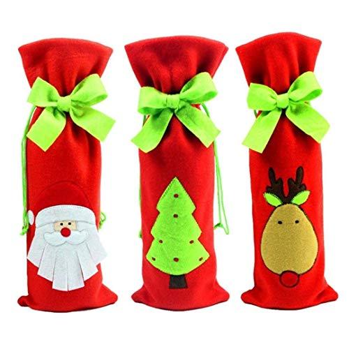 Dasket - Bolsas para botellas de vino (3 unidades), diseño de Papá Noel