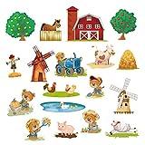 decalmile Pegatinas de Pared Animales de Granja Vinilos Decorativos Oso Vaca Molino Adhesivos Pared Guardería Habitación Infantiles Niños Bebés