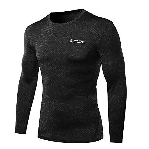 Amzsport, maglietta da uomo a compressione, a maniche lunghe, funzione BaseLayer Schwarz-31 XL