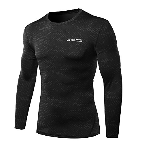 Herren Quick Dry Funktion Sport Kompressionsshirt - Langarm Funktionshirts Base Layer Shirts by AMZSPORT, Schwarz31, M