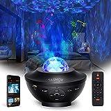 Tasmor Lámpara Proyector Estrella, 360° Rotación 10 colores Luces de Nocturna Estrellas con Bluetooth Altavoz/Remoto, Lámpara Infantil Nocturna Estelar, Proyector de Estrellas Fiesta