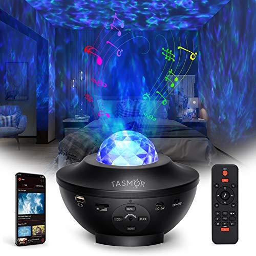Tasmor Lámpara Proyector Estrella, 360° Rotación 10 colores Luces de Nocturna Estrellas...