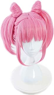 NiceLisa Masquerade Evening Party Cosplay Wig Short Pink Clip On Pony Women Anime Role Play Wigs