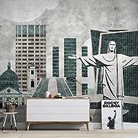 Iusasdz Molofiカスタム3Dレトロなノスタルジックなランドマーク建物都市背景壁紙壁画250X175Cm