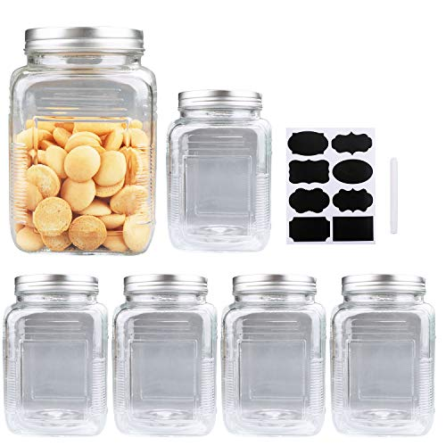 54oz / 1600ml Clear Mason Jar With Lids, Flrolove Airtight Glass Jars With Lid, Clear Square Jars Perfect for Food Storage, Cookies, Canning, Pasta, Beans and Oats, Set of 6
