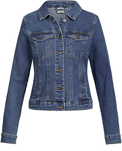 Vero Moda Vmhot SOYA LS Jacket Mix Noos Chaqueta, Azul (Medium Blue Denim Medium Blue Denim), 38 (Talla del Fabricante: Small) para Mujer