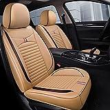 Fundas de asiento universales Juego completo de cuero para automóvil de 5 asientos, asientos delanteros impermeables y banco trasero Juego completo para accesorios de automóvil Interior,Beige