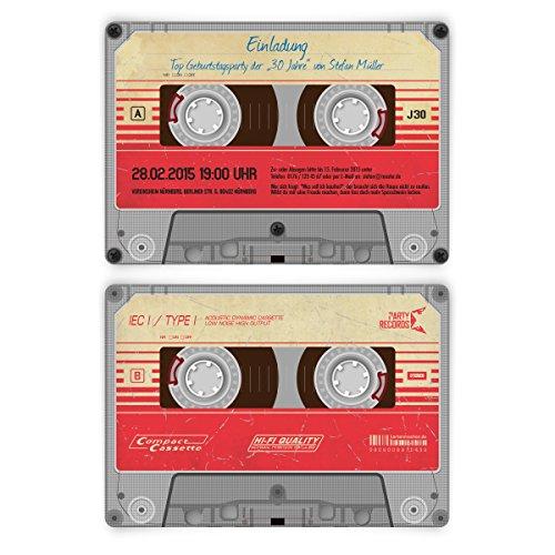 Einladungskarten zum Geburtstag (10 Stück) als Kassette / Musikkassette Motiv Einladung