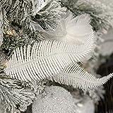 JinYiZhaoMing Clip de decoración de árbol de Navidad de 8,6 pulgadas, 6 unidades en bolas brillantes de plumas para decoración del árbol de Navidad, adorno de novedad, oro plateado y rosa blanca