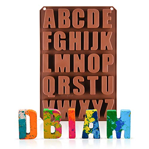 26 Cavities Large Letter Molds Silicone Alphabet Mold for Crayon, Resin, Chocolate, Candy, Wax, Cake Baking Decor (1)